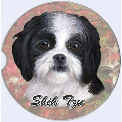 Shih Tzu Black Puppy Sandstone Absorbent Dog Breed Car Coaster