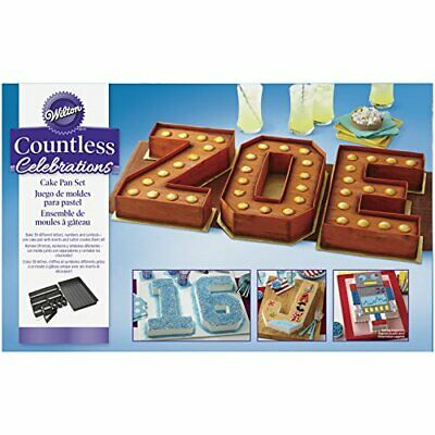 Wilton Cake Tin Countless Celebrations Pan Set Letters & Numbers Personalise (Number Cake Pans)
