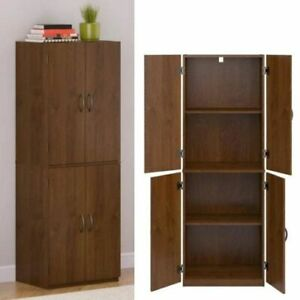 KITCHEN PANTRY CABINET Storage Wood Tall Organizer Adjustable Shelves Furniture