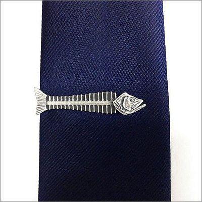 ISHOKUYA Unique Tie Clasps & Tacks Fishbone Shape Tie Clip/Pin/Bar Brand New
