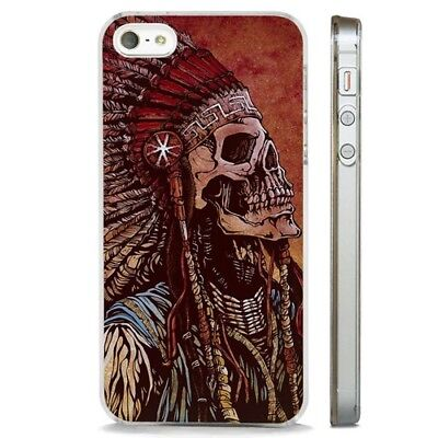 Indian Native American Skull Tribal CLEAR PHONE CASE COVER fits iPHONE 5 6 7 8 X Native American Indian Cover