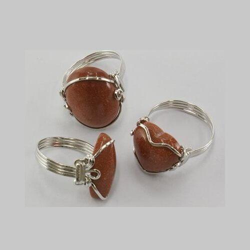 Bulk Lot 6 Wholesale Aventurine Gold Stone Gemstone Silver Plated Wrap Rings