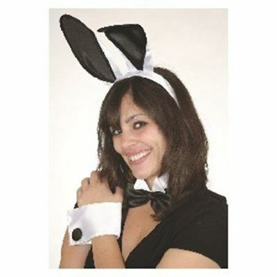 Bunny Deluxe White Kostüme (Sexy Deluxe Play Boy Naughty Bunny 5 Pc Costume Set Black White Ears Cuffs Tail)