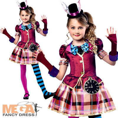 Miss Mad Hatter Girls Fancy Dress Fairy Tale Book Day Week Childrens Kid Costume (Mad Hatter Girls Costume)