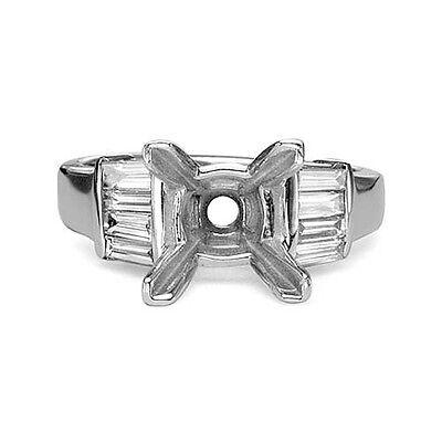0.25ct BAGUETTE CUT DIAMOND ENGAGEMENT RING MOUNTING SETTING PLATINUM Baguette Cut Diamond Setting