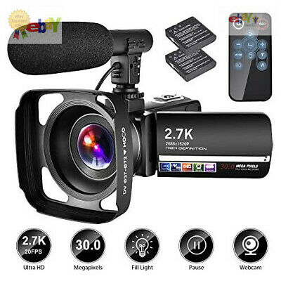 Video Camera Camcorder with Microphone YouTube Camera Recorder 2.7K Ultra HD ...