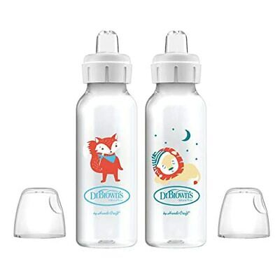 Dr. Brown's Options+ Sippy Spout Baby Bottles, Fox & Lion, 8 Ounce, 2 Count