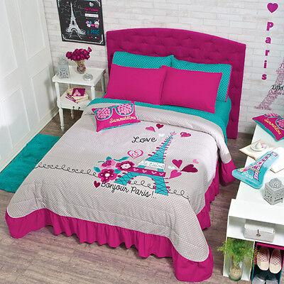 New Teens Girls Aqua Fuchsia Pink Gray Eiffel Tower Paris Bedspread Bedding Set