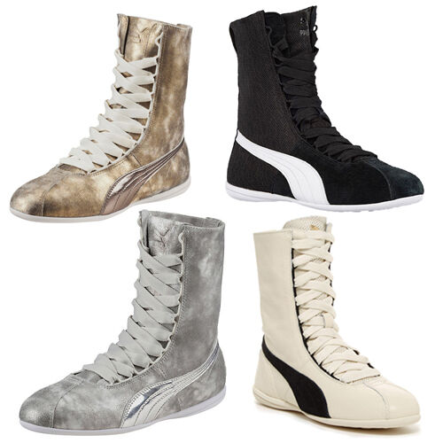 1b1c80a311f6 Details about Puma Rihanna Collection Eskiva Hi Metallic Textured Womens  Trainers Leather