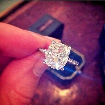Huge 4.35 Ct Cushion Cut Diamond Engagement Ring Pave Accents I,VS2 GIA Platinum