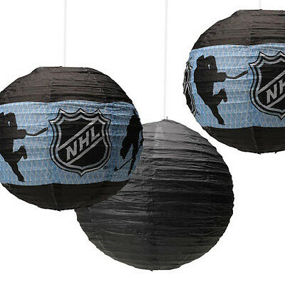 NHL HOCKEY PAPER LANTERNS (3) ~ Birthday Party Supplies Decorations Sports Black - Hockey Birthday Party Supplies