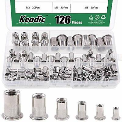 126pcs Metric Stainless Steel Rivet Nut Flat Head Threaded Insert Nutsert Kit -
