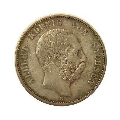 elf Germany Saxony Kingdom 5 Mark 1891 E