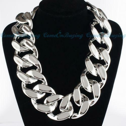 Chunky Bib Chain Choker Necklace eBay