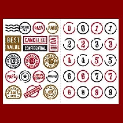 MAKING MEMORIES Rub-On Transfers IMAGES STAMPS NUMBERS 2 sheets Colored