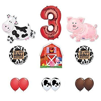 Barn Farm Animals 3rd Birthday Party Supplies Cow, Pig, Barn Balloon Decorations - Farm Animals Party Supplies