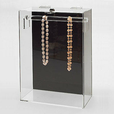 Acrylic Necklace Display Jewelry Showcase W Top Bar 10 14 X 5 14 X 15h