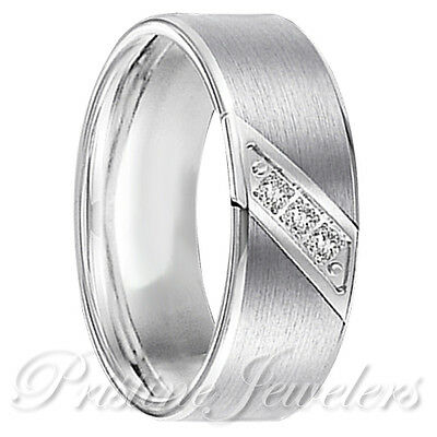 Silver Tungsten Carbide 3 CZ Stone Wedding Band Comfort Fit Mens Engagement Ring ()