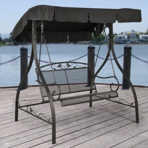 round metal porch swing frame outdoor canopy iron patio garden seat hammock furniture wooden with parts