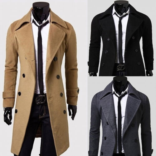6c7c7d803570f4 Herren Anzug Mantel Windjacke Business Formal Zweireiher Lang Sakko  Trenchcoat