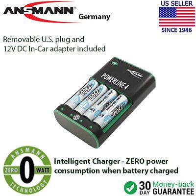 Ansmann Powerline (Ansmann Powerline 4 Zero Watt AA, AAA Battery Charger with Car Charger)