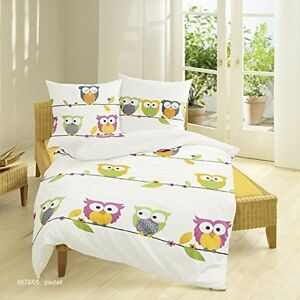 bierbaum kinder bettw sche biber flanell eule owl 80x 80 135x200 ebay. Black Bedroom Furniture Sets. Home Design Ideas