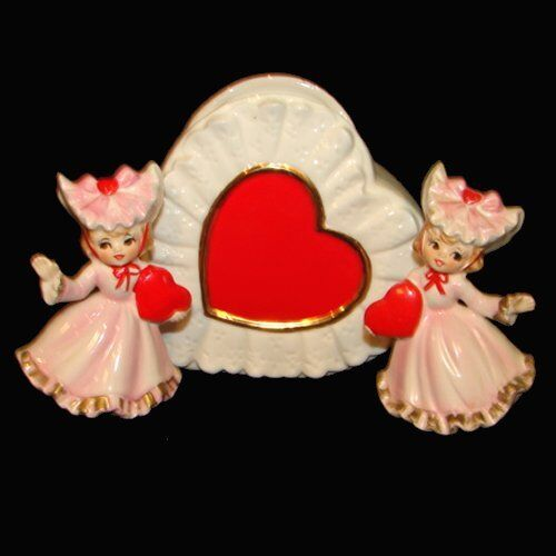 Vintage Valentine Girl Figurines w Hat and Ruffles plus Heart Planter