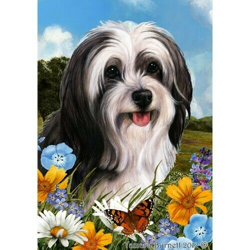 Summer House Flag - Black and White Tibetan Terrier 18478