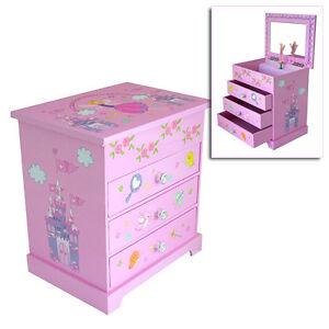 GIRLS CHILDRENS PINK MUSICAL BALLERINA JEWELLERY BOX FAIRY CASTLE ...