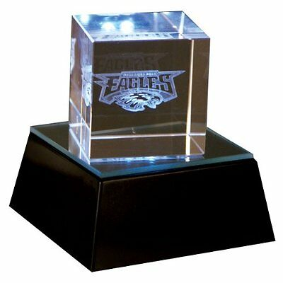 Philadelphia Eagles Prismatic Light Up 2'' Helmet Logo Crystal Cube w/Base  Logo Cube Crystal