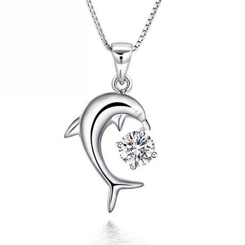 Silver Necklace Dolphin pendant Zirconia Ladies chain Gift
