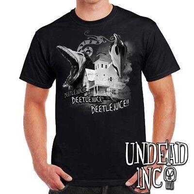 Tim Burton Beetlejuice Haunted House Barbara and Adam - Mens T Shirt black grey