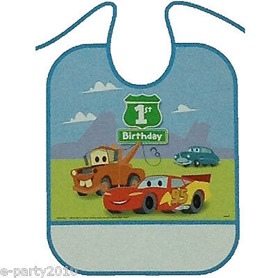 CARS 1st BIRTHDAY PLASTIC BIB ~ First Party Supplies Decorations Favors Mater