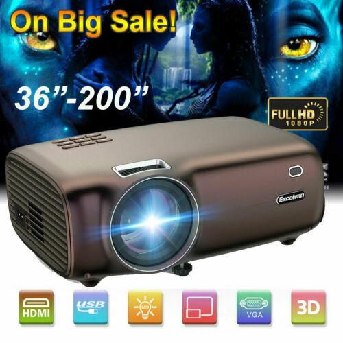 1080P HD Smart Video LED Projector Home Cinema Multimedia 3D