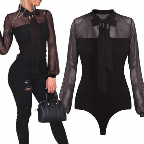US Fashion Womens Long Sleeves  tulle Bodysuit Leotard Lingerie  Tops Jumpsuit