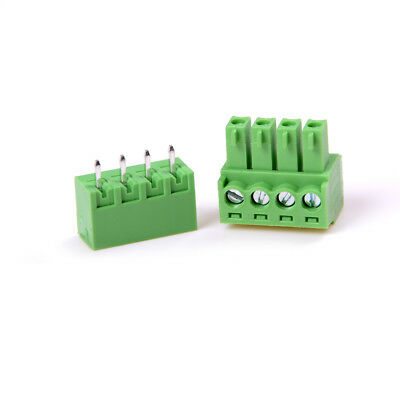 10x 2shg 4pin Plug-in Screw Terminal Block Connector 3.81mm Pitch Right Angle Sh