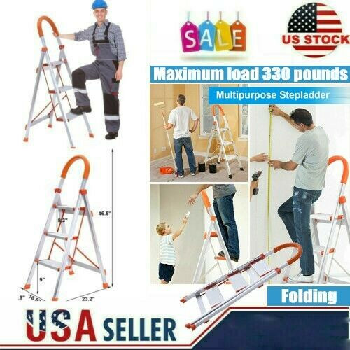 Protable 3 Step Ladder Folding Non Slip Safety Tread Industr