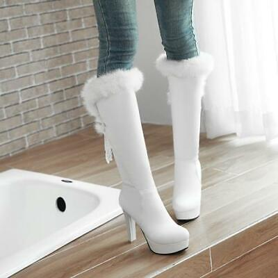 Details about  /Womens Round Toe Block Heel Knee High Thigh Boots Fur Trim Buckle Casual Shoes D
