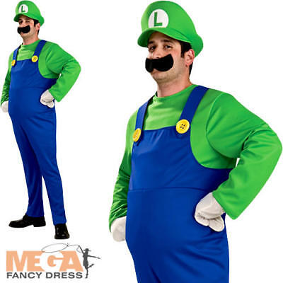 Deluxe Luigi Super Mario Bros Mens Fancy Dress 1980s Video Game Adults Costume