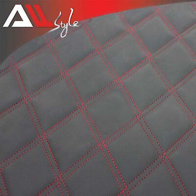 2MX1.5M Car Red Stitching Diamond Quilted Black Faux Leather Upholstery Fabric