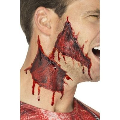 Halloween Makeup Ripped Skin (Ripped Skin Transfers Make Up FX Halloween Horror Fancy Dress Accessory)