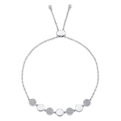 Diamante Bolo Pulsera 14K Oro Blanco Mujer Redondo Pavé Círculo Disco Ajustable