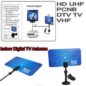 Digital Super Thin Indoor TV Antenna HDTV DTV HD VHF UHF Flat Design High Gain