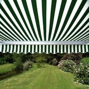 3m x 2.5m Multistripe Red ALEKO Retractable Patio Awning 10ft x 8ft