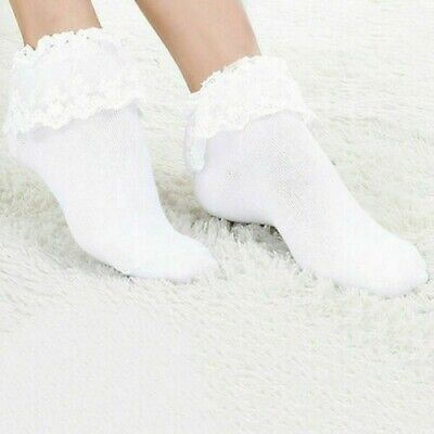 Women's Lace Ruffle Ankle Socks Frilly Pink  White, Colors 7-9 -
