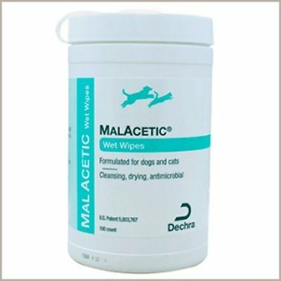 Malacetic Wipes Dry Bath Antimicrobial Hot spots Eyes stain Skin folds Dog & Cat