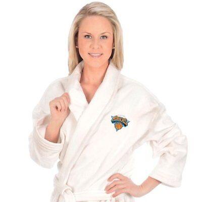 WinCraft - McArthur - New York Knicks Embroidered Bath Robe - White - One - Mcarthur Embroidered Robe