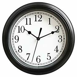 9 Inch Wall Clock Silent Non Ticking Quality Quartz Battery Operated Black