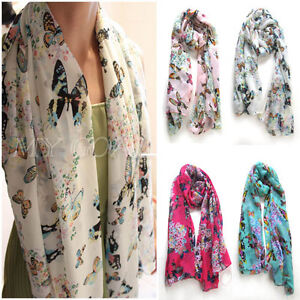 FREE-Hot-Chiffon-Women-Butterfly-Print-Neck-Shawl-Scarf-Scarves-Wrap-Stole-Warm