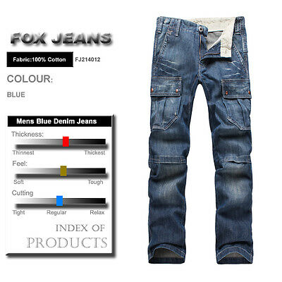 d1e7c082 ... FOX JEANS Men's Monroe Regular Fit Straight Blue Denim Mens Cargo Jeans  32-44 фото ...